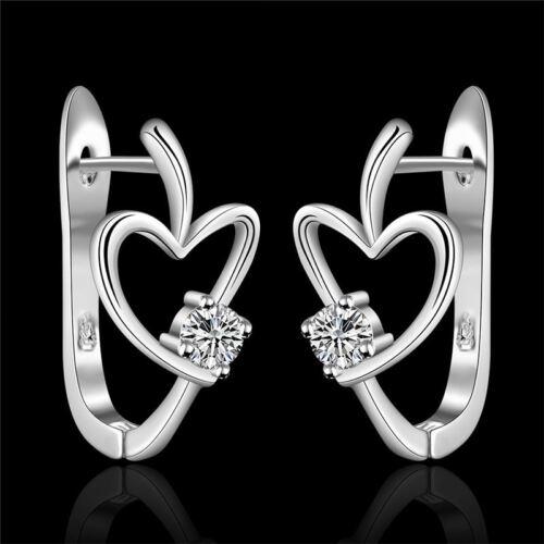 Fashion Cœur Argent Cristal Mariage Zircon Femmes Boucle d/'oreille bijoux magnifique Mignon