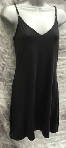 Ladies black satin nightie full slip nightwear underwear pyjamas nightdress NEW