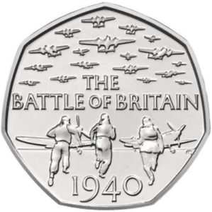 Nearly-Uncirculated-2015-50p-pence-BATTLE-OF-BRITAIN-with-denomination-RARE-coin