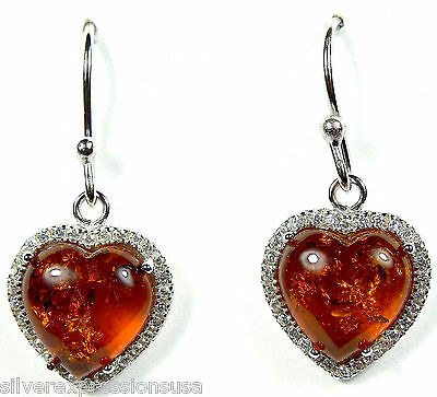Genuine 10mm Baltic Amber & White Topaz 925 Sterling Silver Heart Earrings
