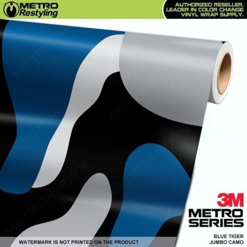 JUMBO BLUE TIGER Camouflage Vinyl Vehicle Car Wrap Camo Film Sheet Roll Adhesive
