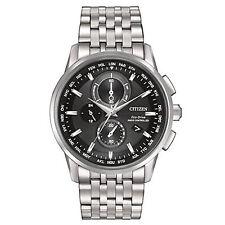 Brand New Citizen Eco-Drive AT8110-53E Mens World Chrono Atomic SS Black Watch