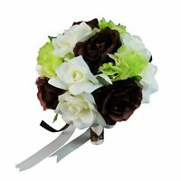 10 Wedding Bouquet - Brown And Ivory Roses With Green Hydrangea - Artificial