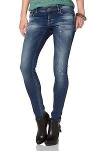 VERO-MODA-Used-Skinny-Jeans-FLASHY-LEATHER-JEANS-blau-W26-W27-L32-NEU