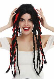Perruque-Femme-Homme-Carnaval-Tressee-Rasta-Dreadlocks-Long-Noir-Rouge-Punk