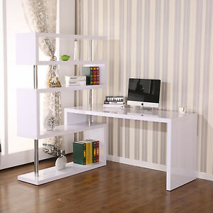 Homcom Foldable Rotating Corner Desk And Shelf Combo White
