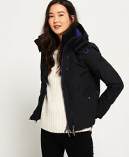 New Womens Superdry Pop Zip Hooded Arctic SD-Windcheater Jacket Black