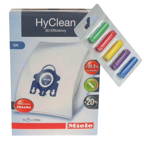 FREE FRESH 2 Filters 4 x Genuine Miele GN HyClean Vacuum Cleaner Dust Bags