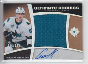 2015-16-UD-ULTIMATE-NIKOLAY-GOLDOBIN-RC-AUTO-JERSEY-149-SILVER-ROOKIE-108-Shark