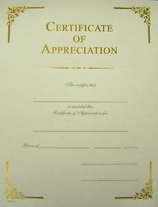 Certificate of appreciation elegant gold foil border pack of 15 ebay image is loading certificate of appreciation elegant gold foil border pack yadclub Image collections