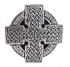 Celtic Knotwork Wheel Pewter Pin Badge - Hand Made in Cornwall