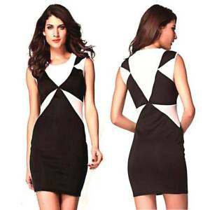 Sexy-Casual-Party-Dress-Size-8-10-Colour-Block-Sleeveless-Mini-Stretchy-Bodycon