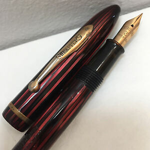 Vintage Sheaffer Balance 350 Carmine Striated Fountain Pen Circa 1930s