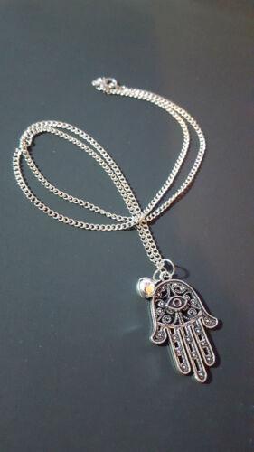 Hamsa Hand Lucky Evil Eye Pendant  Silver Tone Necklace