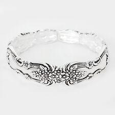 Spoon Stretch Bracelet Vine Design Handle Flower Metal SILVER Filigree Jewelry