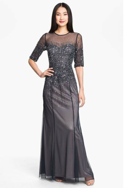 ADRIANNA PAPELL Beaded Sequin Illusion Bodice Mesh Gown  SIZE 8 #166 NWT