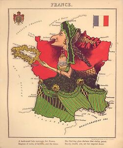 Geographical Map Of France.Details About France Vintage Antique Old Colour Reproduction French Map Geographical Fun Atlas