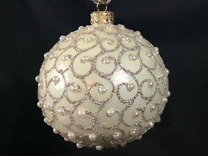Champagne Pearl Mouth Blown Hand Decorated European 4 Round Holiday Ornament Ebay