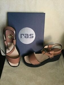 Sandals-RAS-Woman-leather-color-size-39-wedge-leather-Sandali-Donna-pelle