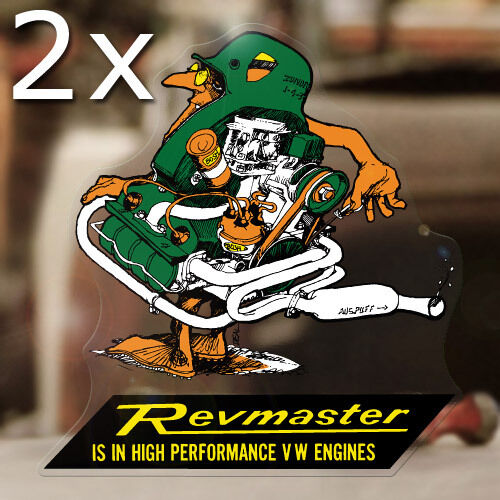 """2x pieces Revmaster sticker decal bug beetle bus aircooled volksrod 5.25/"""""""