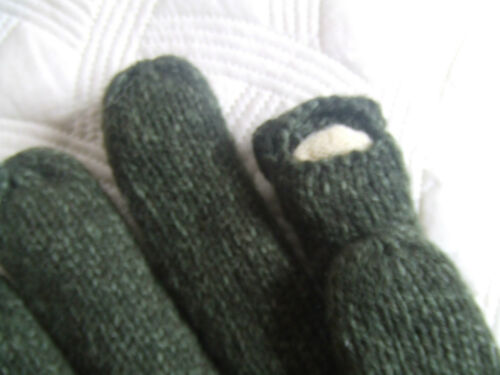 SUEDE PALM FOLD BACK TRIGGER FINGER WOOL MIX THERMAL LINED GREEN HUNTING GLOVES