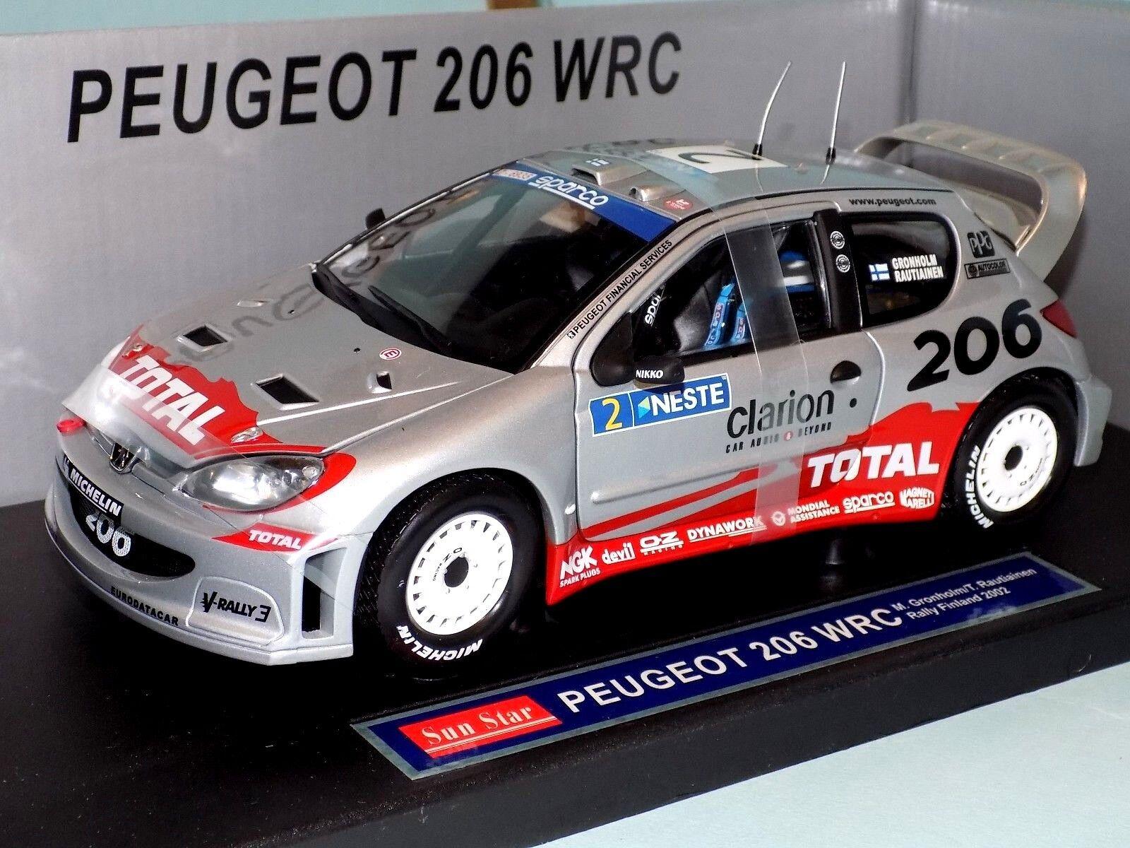 Peugeot Peugeot Peugeot 206 WRC  2 Rally Finlandia 2002 Gronholm Sun Star 3852 1 18 b324cf