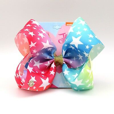 "8/"" Large JOJO Siwa Girls Rainbow Red Blue Ribbon Star Hair Bow clips Dance Party"