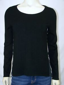 INC-Black-Long-Sleeve-Knit-and-Woven-Top-Womens-Size-Small-4-6