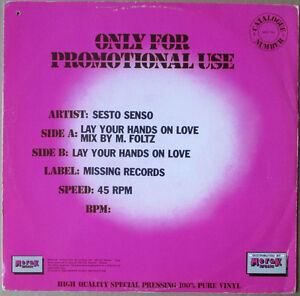SESTO-SENSO-Lay-Your-Hands-On-Love-1985-ITALO-DISCO-Discotto-PROMO-Maxi-Singolo