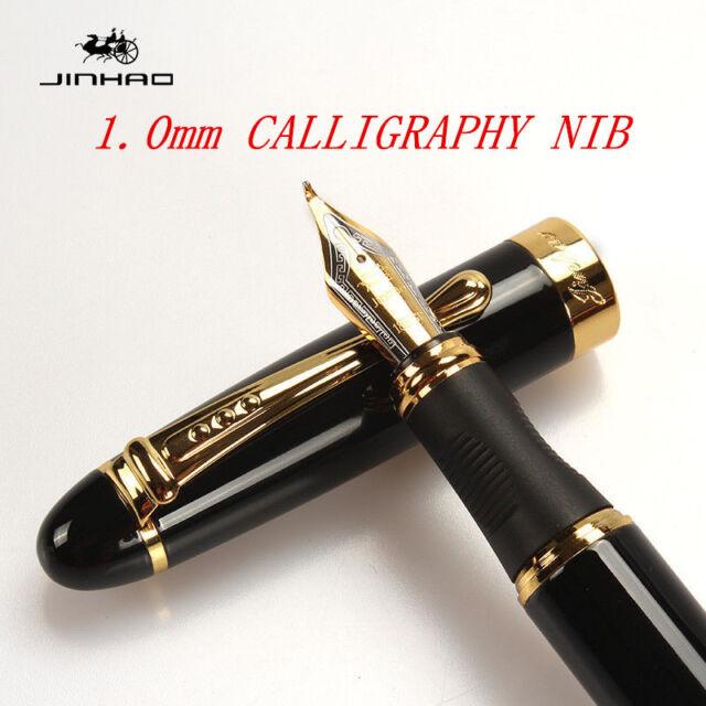 FOUNTAIN PEN JINHAO X450 CALLIGRAPHY 1.0mm NIB BLACK GOLDEN