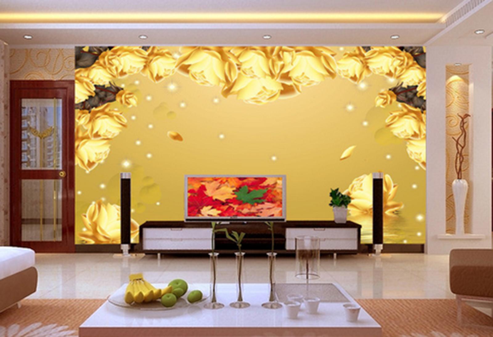 3D Cartoon Gold Petals Paper Wall Print Wall Decal Wall Deco Indoor Murals
