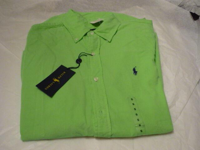 RALPH LAUREN  men's shirt  L S Bright Green Corduroy Small NWT