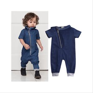 ce8090226644 Toddler Infant Baby Boy Girl Denim Bodysuit Zipper Romper Jeans ...