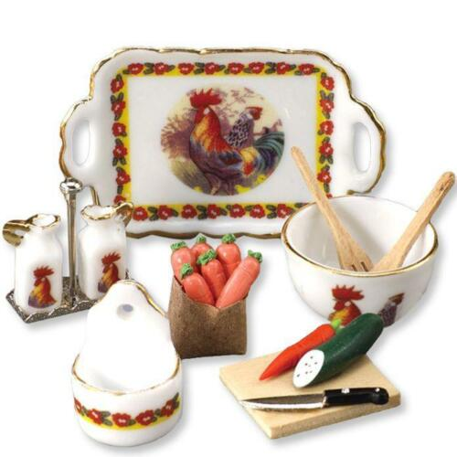 DOLLHOUSE Rooster Kitchen Set Reutter 14998 Cruets Miniature 1-12 gemjane