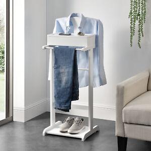 Détails sur en.casa® Valet de Chambre avec boîte ouvrable 43,5 x 34,5 x 110  cm MDF Blanc