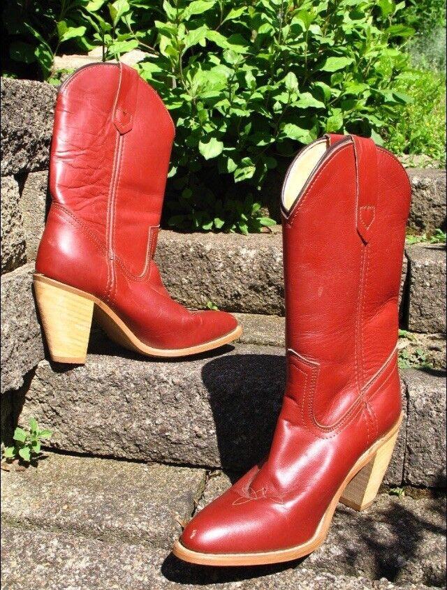 FRYE AMERICAN CLASSICS Vintage Genuine Burgundy Leather Wooden Heel Boots 6.5