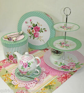 Cup-Cake-Stand-amp-Tea-For-One-Set-Porcelain-Floral-Cake-Stand-amp-Tea-Pot-For-One