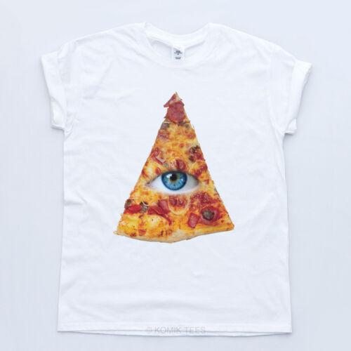 NEW ILLUMINATI PIZZA TRIANGLE TSHIRT Disobey Junk Eye Fresh Indie Tee