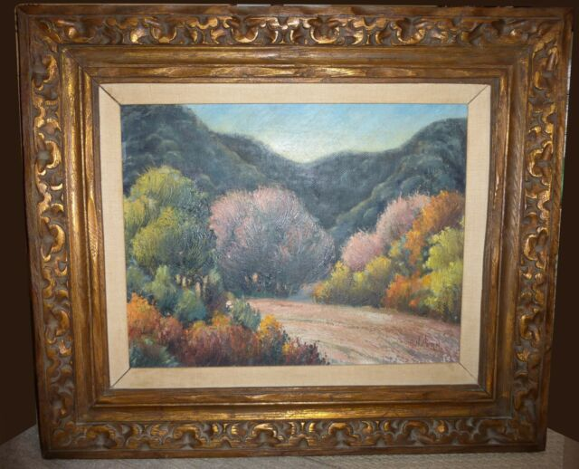 Vintage DESERT SCENE Landscape Oil on Canvas PAINTING Picture by Harry Horn 1947
