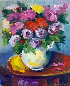 Original-oil-painting-art-on-canvas-floral-expressionism-blue-pink-home-decor