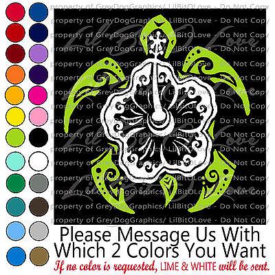 Tribal Hibiscus Sea Turtle Vinyl Decal Sticker Tortoise Beach 2 Color