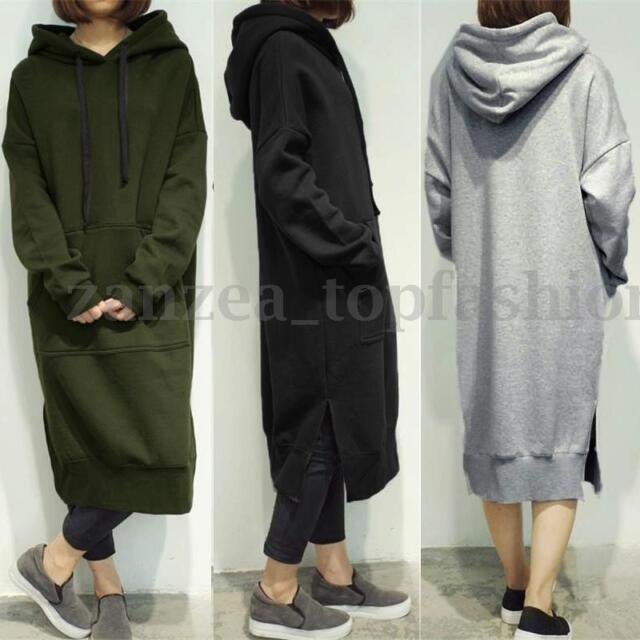 cd5974f93ce Hot Women s Long Sleeve Loose Casual Plus Sweatshirt Hoodies Long Maxi  Dress