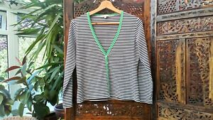 Laura-Ashley-Cotton-Cardigan-Top-UK-12-US-8-EU-40-Black-White-amp-Green-Striped