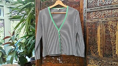 SchöN Laura Ashley Cotton Cardigan Top Uk 12 Us 8 Eu 40 Black White & Green Striped Um Eine Hohe Bewunderung Zu Gewinnen Und Wird Im In- Und Ausland Weithin Vertraut.