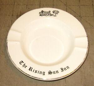 """Vintage THE RISING SUN INN 5.5"""" White China ASHTRAY - Telford, Pennsylvania?"""