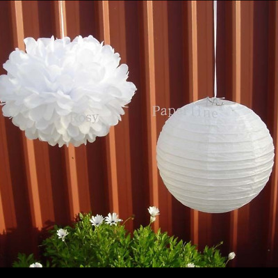 20x lilac paper pom poms white lanterns wedding party baby shower bar decoration