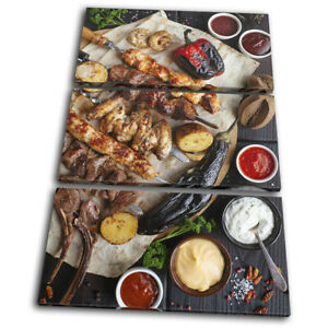Chicken-Meat-BBQ-Barbecue-Food-Kitchen-TREBLE-CANVAS-WALL-ART-Picture-Print