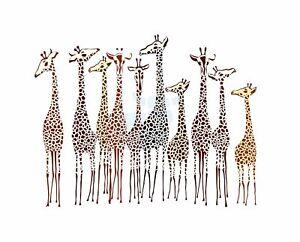 Illustration-Group-Of-Giraffes-Art-Canvas-Print