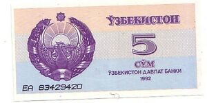 Uzbekistan-5-sum-1992-FDS-UNC-Pick-63-Lotto-3436