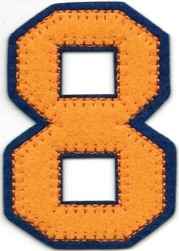 """1 3//4/"""" x 2 1//2/"""" Orange Blue Block Letterman/'s Number 8 Felt Patch"""